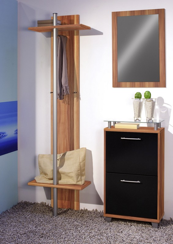 garderobe welcome front hochglanz schwarz korpus walnuss dekor 4 tlg set. Black Bedroom Furniture Sets. Home Design Ideas