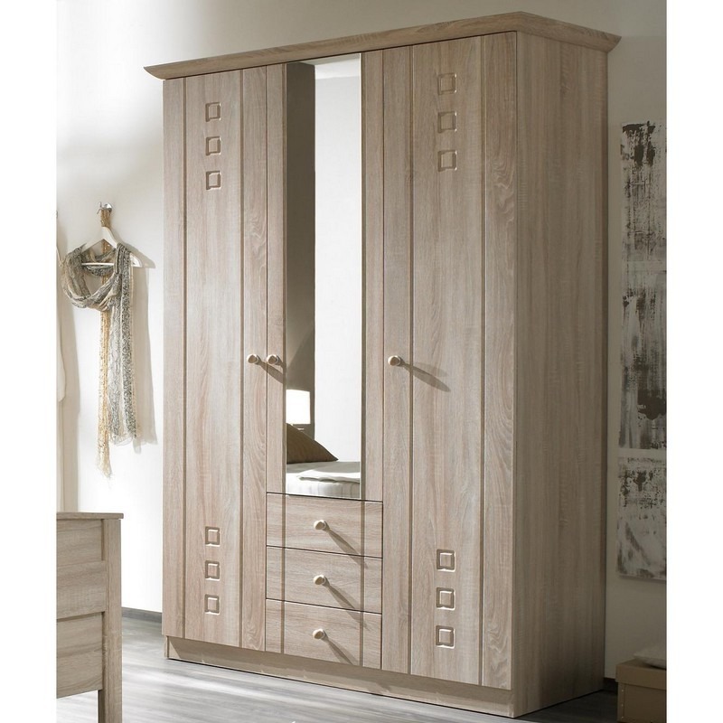 schrank schlafzimmer kleiderschrank 3 t ren eiche sonoma dekor frankenheim. Black Bedroom Furniture Sets. Home Design Ideas