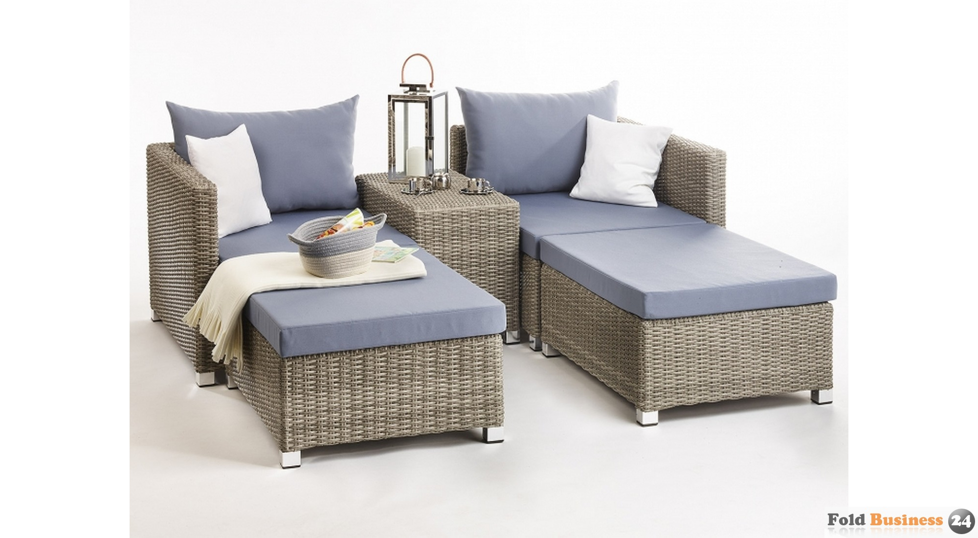 m belgruppe loungem bel sitzgruppe polyrattan grau blau 69. Black Bedroom Furniture Sets. Home Design Ideas