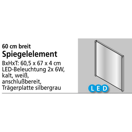 Fackelmann Spiegelelement LED-LINE, 2 x Stripes, 60,5 cm