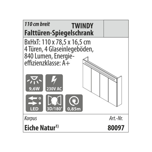 NEU Fackelmann Stanford Bad-Set 4 teilig in Eiche Natur Optik, 160,5 cm